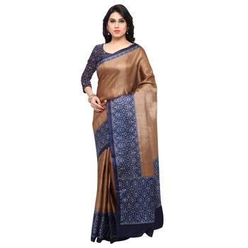 Brown printed tussar silk saree with blouse