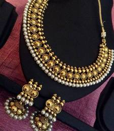Buy Pearl ethnic glowing Indian traditional festive woman jewelry necklace set ab33 necklace-set online