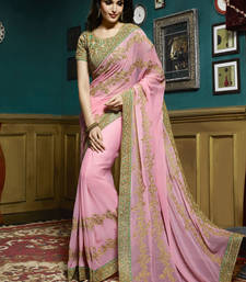 Buy Rose embroidered georgette saree with blouse wedding-saree online