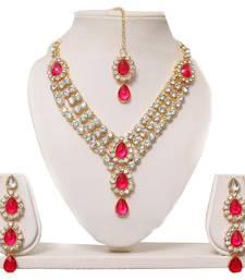 Buy Australian Diamond Necklace Earrings Set With Maang Tikka necklace-set online