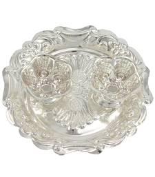 Buy Silver plated haldi-kunku karand and kankavati and kumkum pooja thali set other-home-accessory online