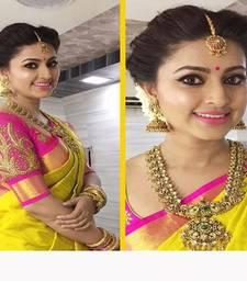 Buy Yellow printed chanderi saree with blouse chanderi-saree online