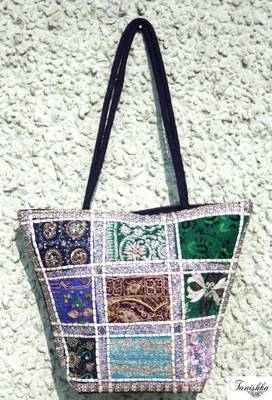 Elegant Hand bag with hand embroidered patch work