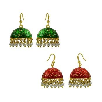 Oxidized Meenakari Pearl tokri combo earrings set