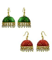 Buy Oxidized Meenakari Pearl tokri combo earrings set combo-earring online
