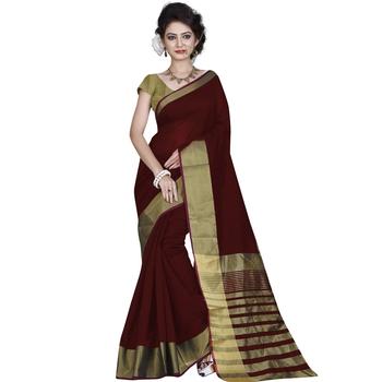 maroon plain bhagalpuri silk saree with blouse