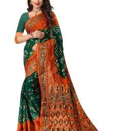 Buy Green printed bhagalpuri silk saree with blouse bandhani-sarees-bandhej online