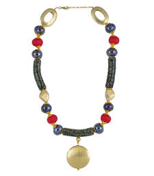 Buy Gold Color Grotella Bead Necklace for Women Necklace online