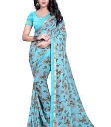 Buy Blue printed georgette saree with blouse printed-saree online