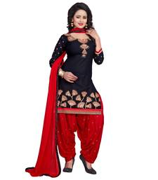 Buy Black embroidered cotton unstitched salwar with dupatta punjabi-suit online