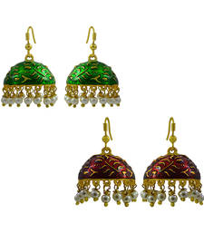 Buy Oxidized Meenakari Pearl tokri combo earrings set combo-earring online