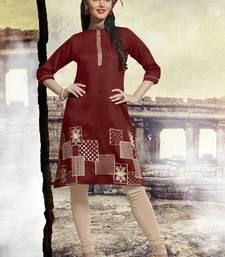Buy Maroon printed cotton kurtis cotton-kurti online
