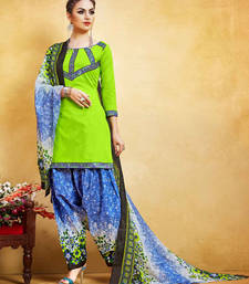 Buy Parrot green printed lawn unstitched salwar with dupatta punjabi-suit online