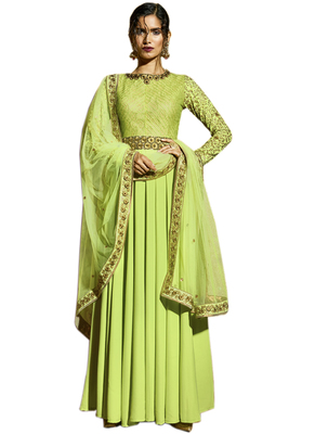Lime embroidered art silk semi stitched salwar with dupatta