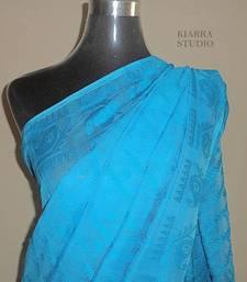 Buy Unstarched Jamdani Handwoven blue & white Saree - KIARRA jamdani-saree online