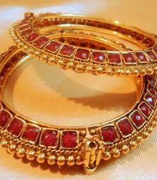 Buy royal ruby side open polki pair of kara bangles-and-bracelet online