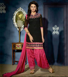 Buy black embroidered Georgette unstitched salwar with dupatta patiala-salwar online