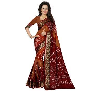 Brown printed bhagalpuri silk saree with blouse