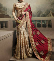 Cream embroidered georgette saree with blouse shop online