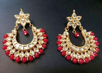 Colorful chandbali earrings pair