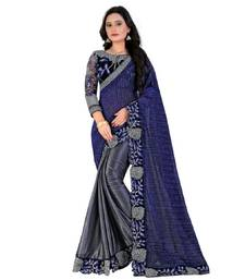 Buy Blue and grey embroidered lycra saree with blouse designer-embroidered-saree online