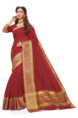 Maroon maheshwari saree with blouse