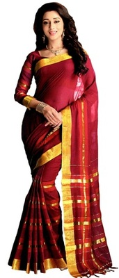 pink maheshwari saree with blouse