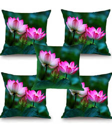 Buy Lotus Flower HD Digital Premium Cushion Cover - Set of 5 (16 x 16 Inch) cushion-cover online