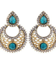 Buy Antique Gold Plated Green Traditional Chandbali Earrings for Girls and Women danglers-drop online