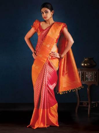 Buy Aavaranaa Kanchipuram Sarees Orange And Red Silk