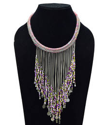 Buy Light And Dark Purple Color Handmade Artificial Jewellery With Metal Thread And Beads party-jewellery online