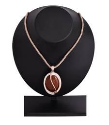 Buy M4U Fashion Brown Glitzy Hook & Loop Long Chain Pendant Pendant online