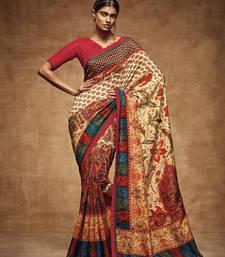 Buy Multicolor printed pure tussar silk saree with blouse tussar-silk-saree online