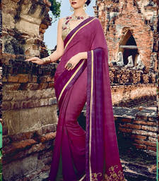 Buy Purple embroidered crepe saree with blouse crepe-saree online