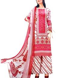 Buy pink embroidered lawn cotton unstitched salwar with dupatta eid-special-salwar-kameez online