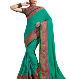 Buy Teal embroidered art silk saree with blouse bridal-saree online