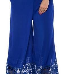 Buy Royalblue plain lycra fabric free size palazzo pants palazzo-pant online