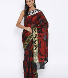 Buy Black woven cotton saree with blouse cotton-saree online