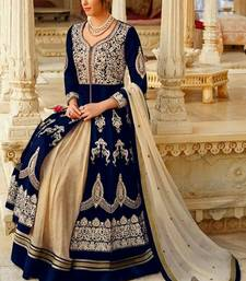 Buy Blue embroidered taffeta semi stitched salwar with dupatta abaya-suit online