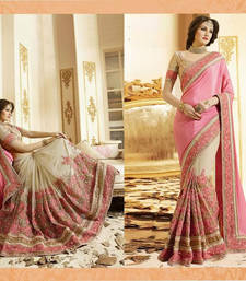 Buy Pink embroidered faux georgette saree with blouse bridal-saree online