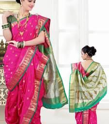 Buy pink woven poly cotton silk traditional nauvari-saree nauvari-saree online
