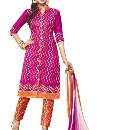 Buy Pink embroidered faux cotton unstitched salwar with dupatta