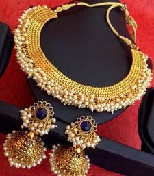 Buy Blue South Indian Temple Chandni Pearls Golden Necklace Set z101b necklace-set online