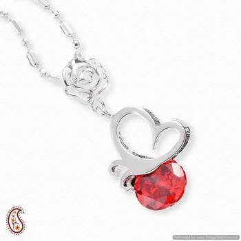 Round Red CZ Silver Pendant