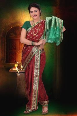Maroon woven cotton poly nauvari-saree