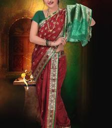Buy Maroon woven cotton poly nauvari-saree nauvari-saree online