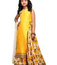 Buy yellow printed bhagalpuri kids lehenga chol kids-lehenga-choli online