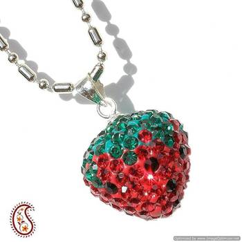 Red Strawberry Swarovski Crystal Pendant