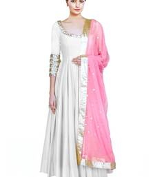 Buy White embroidered taffeta semi stitched salwar with dupatta semi-stitched-salwar-suit online