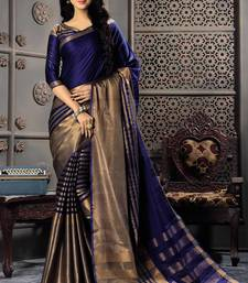 Buy Navy blue woven cotton silk saree with blouse black-friday-deal-sale online